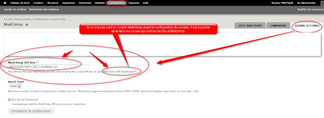 Mailchimp Clé Key Drupal NewsLetter Emailing ExpertE Formation RougeOrangeVert