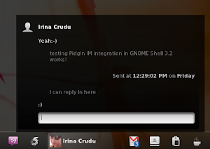 Pidgin GNOME Shell notifications