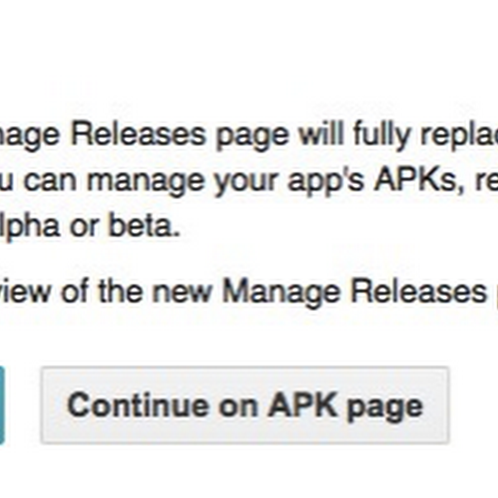 Manage Releases will replace APK page