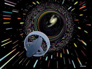 Ilustración artística que muestra una viajando a través de un agujero de gusano