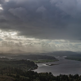 From Up On High by Craig Pifer - Landscapes Weather ( oregon, climb, tower, pano, column, weather, panorama, rain, astoria column, astoria )