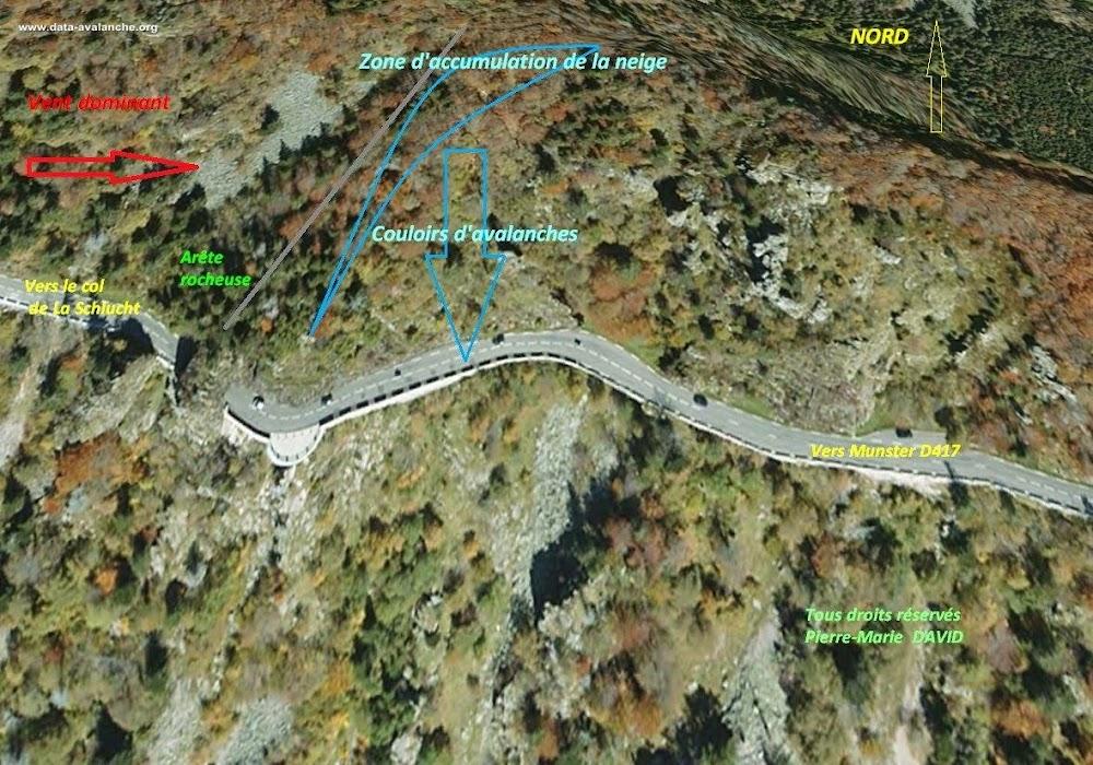 Avalanche Vosges, secteur Spitzenfels, Couloir dit « du tunnel » de l'Altenberg RD417 à proximité du Col de la Schlucht - Commune de Stosswihr - Photo 1