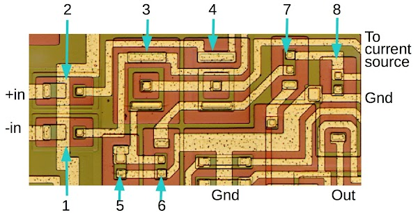 Die image of the 76477 sound chip showing a comparator used in the one-shot circuit.