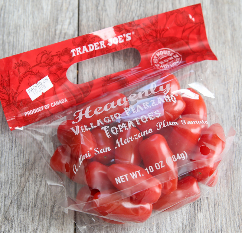 overhead photo of a package of Heavenly Villagio Marzano® Tomatoes