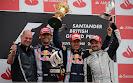2013 British F1 podium: 1. Vettel 2. Webber 3. Barrichello