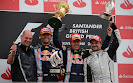 2013 British F1 podium: 1. Vettel 2. Webber 3. Barrichello