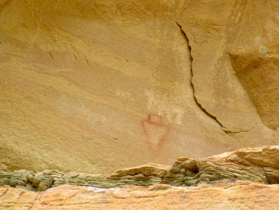 Red pictograph up high