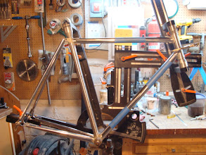 Photo: The lugs are all prepped, just one last dry fitup to check the lug angles and cut the seatstay slots.
