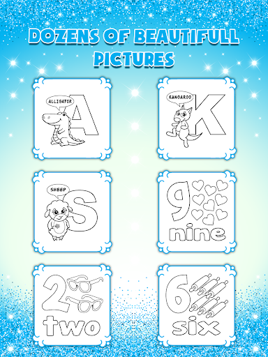 Glitter Number and letters coloring Book for kids screenshot 12