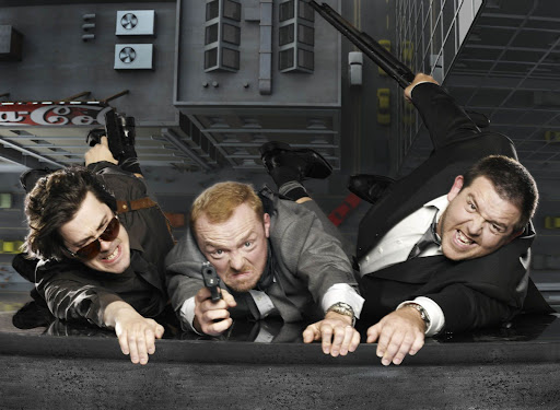 Picture shows actor Simon Pegg, actor Nick Frost, and director Edgar Wright as characters from the film Hot Fuzz.