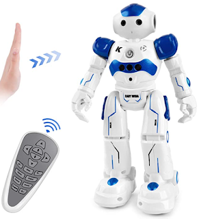 Blue robot toy with remote for kids