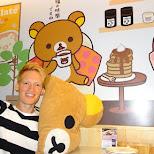 getting comfy at the rilakkuma cafe in Taipei, T'ai-pei county, Taiwan