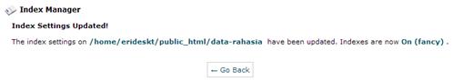 Pesan konfirmasi setelah sukses membuat index page