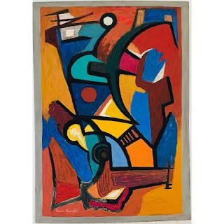 Martin Rosenthal Signed Modernist Abstract Oil, Medium