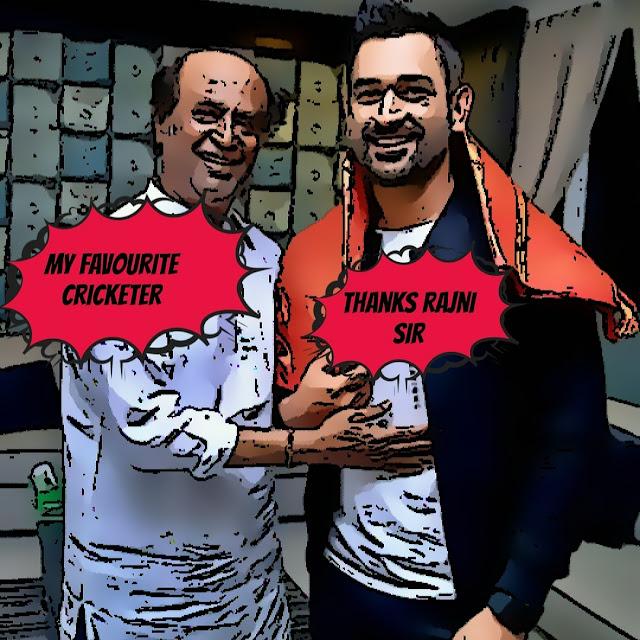 Rajnikant, Mahi, superstar Rajni Sir, captain Cool, msd, CSK, Men in Blue, Bleed Blue, comic Image, ranchi, Chennai, mahitalk