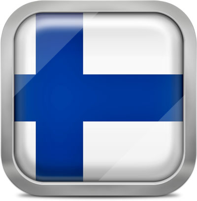 Finland square flag with metallic frame