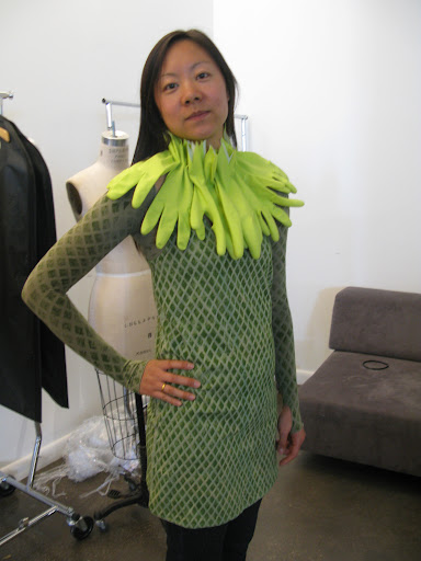 Steph (a fellow Crafts editor) trying on her Lagoon Lady costume.