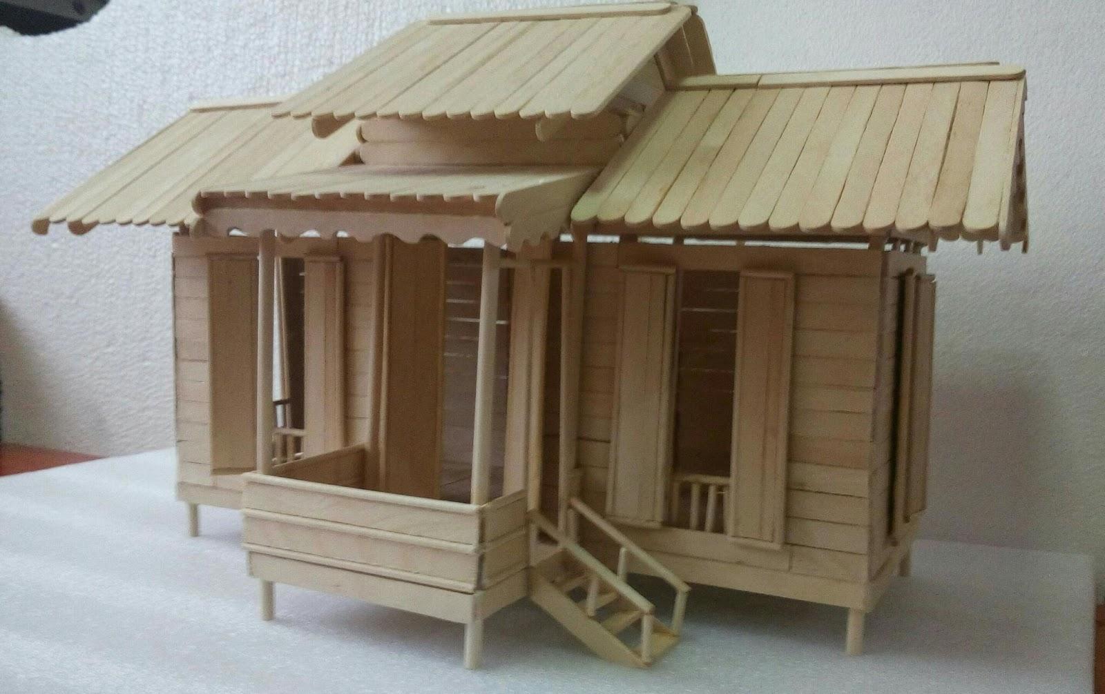 Model Ringkas Rumah Kampung Melayu Bahan Batang Aiskrim