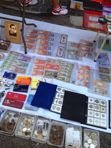 coin collection at flea market