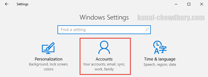 Windows 10 Settings - Accounts (www.kunal-chowdhury.com)