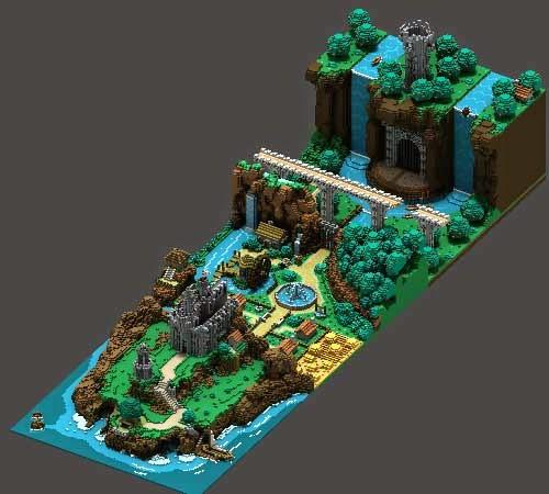paisaje técnica voxel