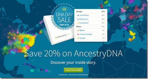 Order AncestryDNA for $79 through 26 April 2017.