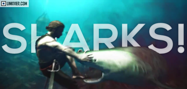 Shark biting a person in Assassins Creed 4