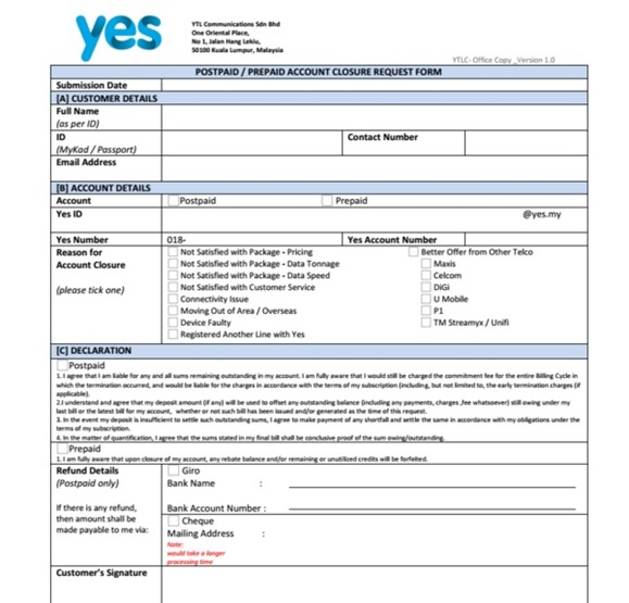 borang terminate broadband yes4G