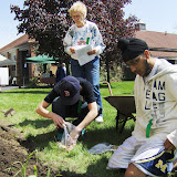 Betty Bradbury & WBHS student volunteers plant Native American 3 Sisters Garden, 2010