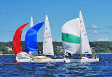 J/24 one-design sailboats- sailing off Maine