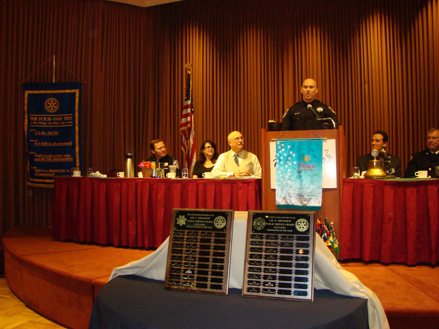 Law Enforcement Officer of the Year 2012 Michael C. Clark addresses the goup