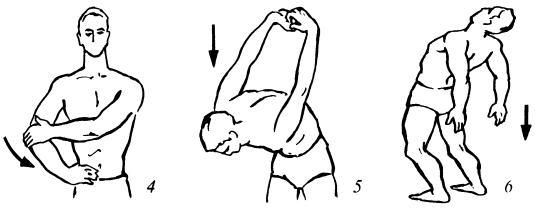 Залом плечевого и локтевого суставов, Дыба в наклоне, Прогиб стоя
