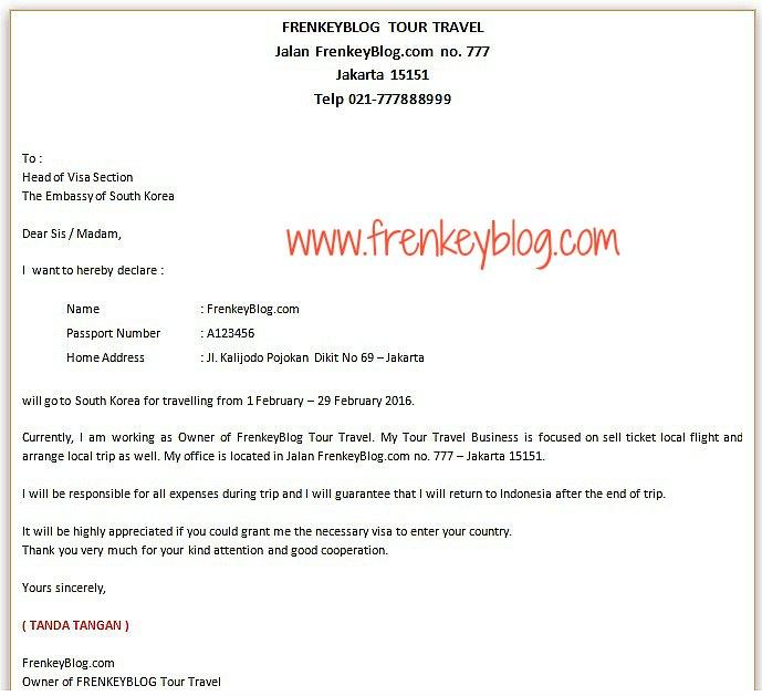 Contoh Surat Keterangan Kerja Wiraswasta atau Online Shop untuk Visa