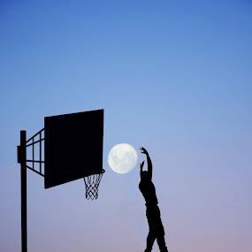 Slam Dunk by Adrian  Limani - Digital Art Places ( basketball, moon, silhouette, play, slamdunk, night, game )