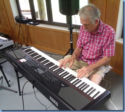 Claude Moffat playing the amazing new Korg Havian 30 digital ensemble piano which was kindly provided by Music Planet Takapuna for the day.