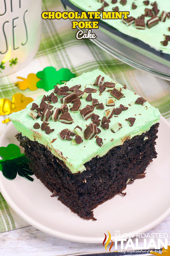 Andes mint poke cakeon a plate