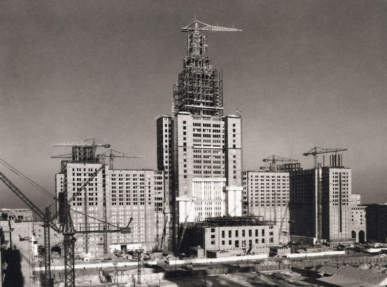 Moscow State University Main Building Under Construction Pictures