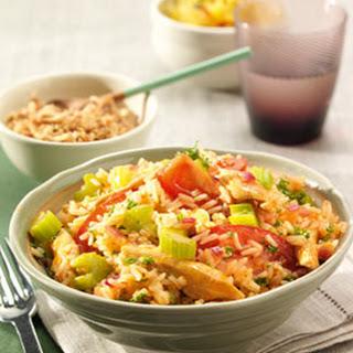 Sweet & Sour kip met rode ui, bleekselderij en rijst
