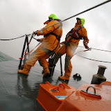Poole crew members practising a search during an exercise in rough weather - 26 January 2014 Photo: RNLI Poole/Rob Inett