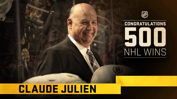 Congrats to Bruins coach Claude Julien on 500 wins
