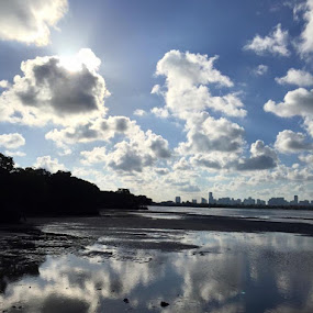 Miami downtown seen from Key Biscayne by Vlady Tom - Landscapes Cloud Formations (  )