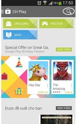 tìm kiếm ứng dụng, game cho điện thoại android