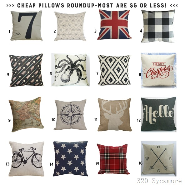 cheap pillow roundup at 320 Sycamore