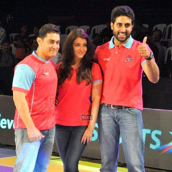 (L to R)Aamir Khan, Aishwarya Rai Bachchan and Abhishek Bachchan during the opening match of Pro-Kabbadi League, held in Mumbai, on July 26, 2014. (Pic: Viral Bhayani) <br />