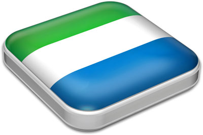 Flag of Sierra Leone with metallic square frame