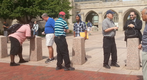"""Check this out, left-to-right: Jimmy is witnessing to James, a man involved with a cult known as the """"Boston Church of Christ."""" At the same time, Wayne is sharing his faith with an ardent Muslim, and on the right, Ray is reasoning with an Atheist. This is why we go out into the open air! This was at Boston University."""