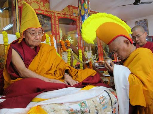 Dhakpa Rinpoche and Lama Zopa Rinpoche, Root Institute, Bodhgaya, India, January 2012. Photo by Bill Kane.