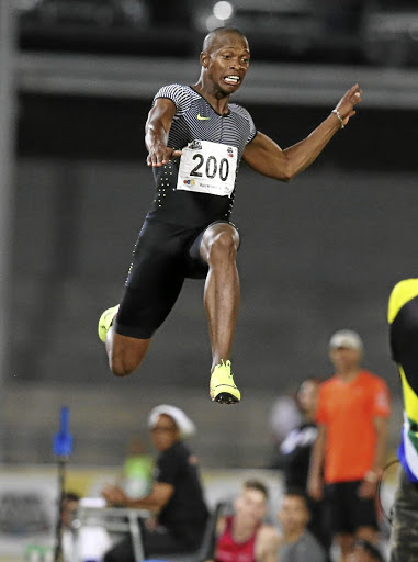 Gaining ground: Luvo Manyonga flies through the air in Bloemfontein in March. This weekend, he promises to set the national championships alight in Potchefstroom. Picture: GALLO IMAGES