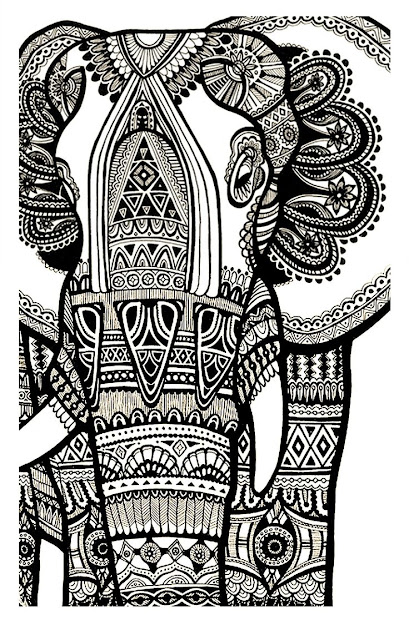 Aztec Elephant Coloring Pages Source Printable Coloring Pages For Adults