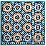 LES ZELLIGES DE MARRAKECH - Ouvrage Commun - Piéce machine - Quilté machine par Elly Prins - Reproduction d'une mosaïque du mur de la Salle des Prières - Médersa Ben Youssef - Marrakech - Maroc